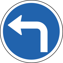 Traffic sign of Iceland: Turning left mandatory