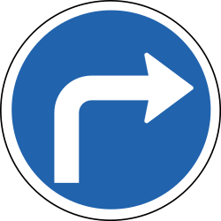 Traffic sign of Iceland: Turning right mandatory