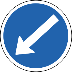Traffic sign of Iceland: Passing left mandatory