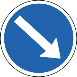 Traffic sign of Iceland: Passing right mandatory