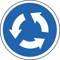 Traffic sign of Iceland: Mandatory direction of the roundabout