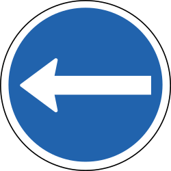 Traffic sign of Iceland: Mandatory left