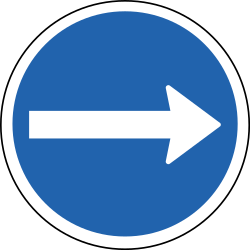 Traffic sign of Iceland: Mandatory right