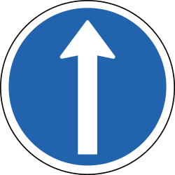 Traffic sign of Iceland: Driving straight ahead mandatory