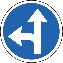 Traffic sign of Iceland: Driving straight ahead or turning left mandatory