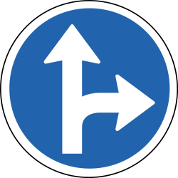 Traffic sign of Iceland: Driving straight ahead or turning right mandatory