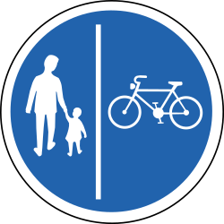 Traffic sign of Iceland: Mandatory divided path for pedestrians and cyclists