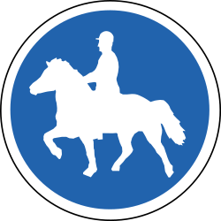Traffic sign of Iceland: Mandatory path for equestrians