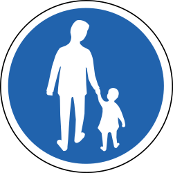 Traffic sign of Iceland: Mandatory path for pedestrians