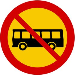 Traffic sign of Iceland: Buses prohibited