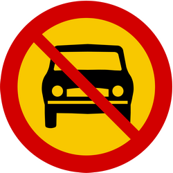 Traffic sign of Iceland: Cars prohibited