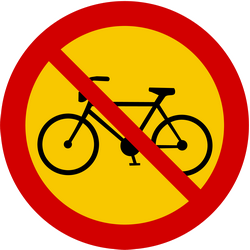 Traffic sign of Iceland: Cyclists prohibited