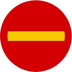 Traffic sign of Iceland: Entry prohibited (road with one-way traffic)