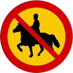 Traffic sign of Iceland: Equestrians prohibited