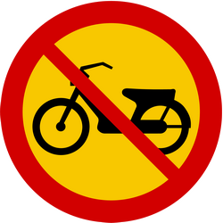 Traffic sign of Iceland: Mopeds prohibited
