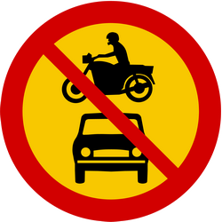 Traffic sign of Iceland: Motorcycles and cars prohibited