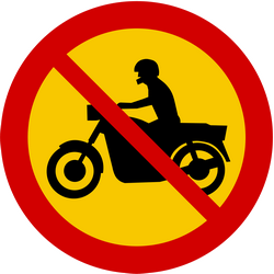 Traffic sign of Iceland: Motorcycles prohibited