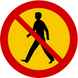 Traffic sign of Iceland: Pedestrians prohibited