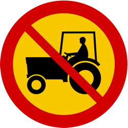 Traffic sign of Iceland: Tractors prohibited