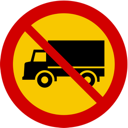 Traffic sign of Iceland: Trucks prohibited