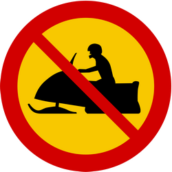 Traffic sign of Iceland: Snowmobiles prohibited