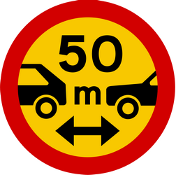 Traffic sign of Iceland: Leaving less distance than indicated prohibited