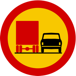 Traffic sign of Iceland: Overtaking prohibited for trucks