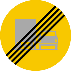 Traffic sign of Iceland: End of the overtaking prohibition for trucks