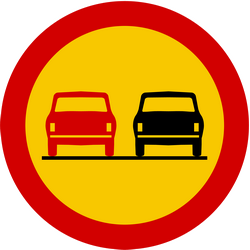 Traffic sign of Iceland: Overtaking prohibited