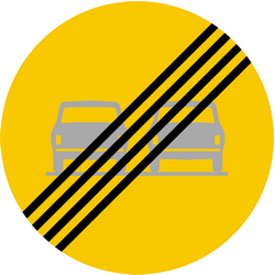 Traffic sign of Iceland: End of the overtaking prohibition