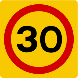 Traffic sign of Iceland: Begin of a zone with speed limit