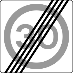 Traffic sign of Iceland: End of the zone with speed limit