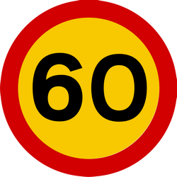 Traffic sign of Iceland: Driving faster than indicated prohibited (speed limit)