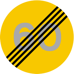 Traffic sign of Iceland: End of the speed limit
