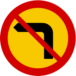 Traffic sign of Iceland: Turning left prohibited