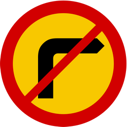 Traffic sign of Iceland: Turning right prohibited