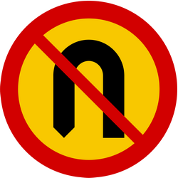 Traffic sign of Iceland: Turning around prohibited (U-turn)