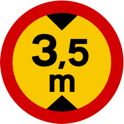 Traffic sign of Iceland: Vehicles higher than indicated prohibited