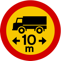 Traffic sign of Iceland: Vehicles longer than indicated prohibited