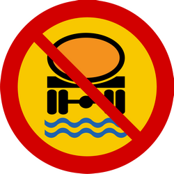 Traffic sign of Iceland: Vehicles with polluted fluids prohibited