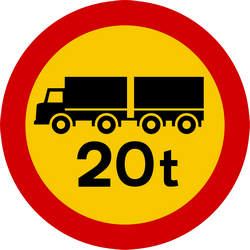 Traffic sign of Iceland: Trucks with trailer heavier than indicated prohibited