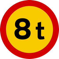 Traffic sign of Iceland: Vehicles heavier than indicated prohibited
