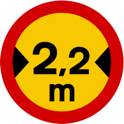 Traffic sign of Iceland: Vehicles wider than indicated prohibited