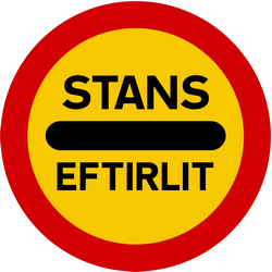 Traffic sign of Iceland: Entry prohibited (checkpoint)