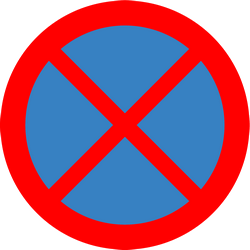 Traffic sign of Iceland: Parking and stopping prohibited