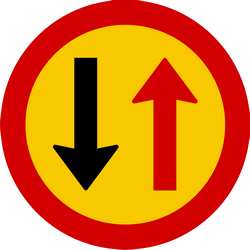 Traffic sign of Iceland: <b>Road narrowing</b>, give way to oncoming drivers