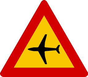 Traffic sign of Iceland: Warning for low-flying aircrafts