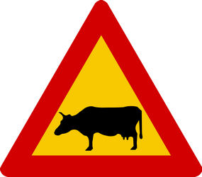 Traffic sign of Iceland: Warning for cattle on the road