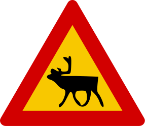 Traffic sign of Iceland: Warning for reindeer on the road