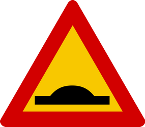 Traffic sign of Iceland: Warning for a speed bump